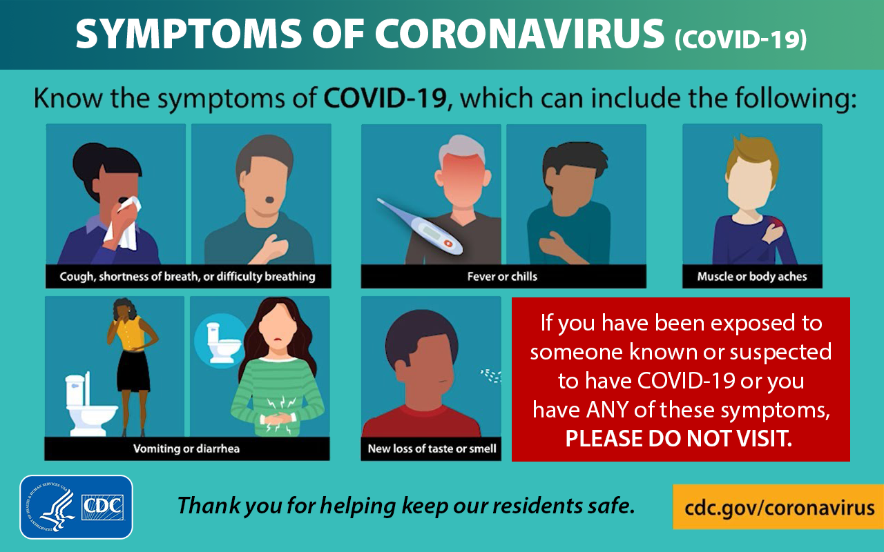 Please don't visit if you have COVID symptoms